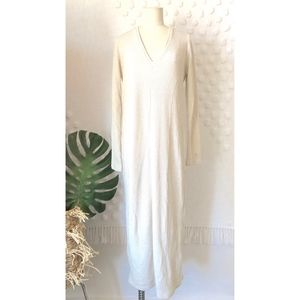 NEW ZARA IVORY BEIGE RIBBED V NECK LONG DRESS